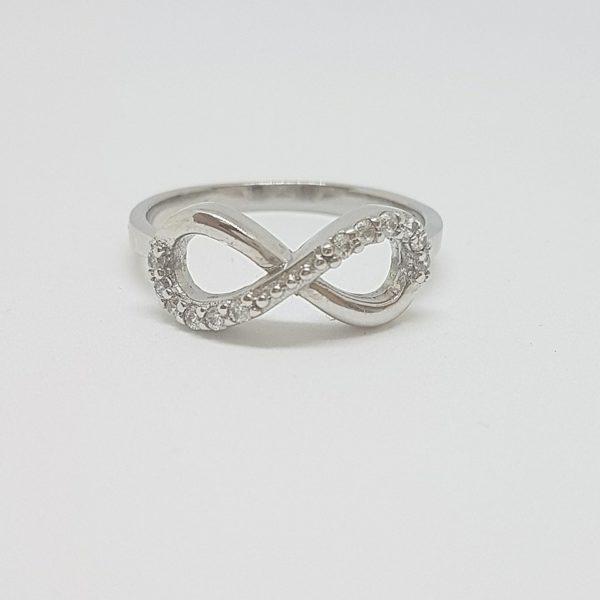 taglia 40 313ba 26711 Anello infinito argento zirconi ELO011
