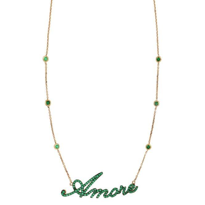 Collana Da Donna Amore Verde Oro Rosa ELO0314OREF
