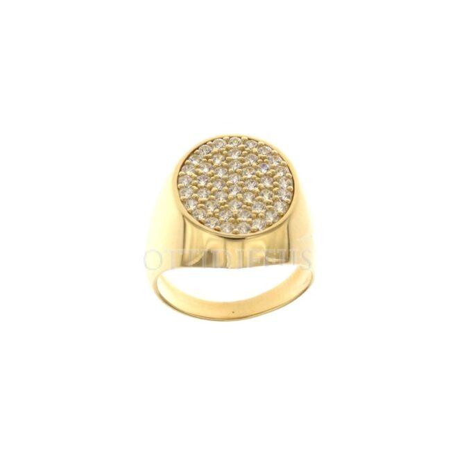 Anello Chevalier Oro Giallo Zirconi Bianchi ELO0428OREF