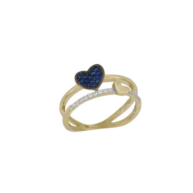 Anello Da Donna Cuore Blu Oro Giallo ELO0434OREF