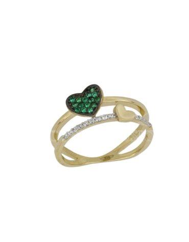 Anello Da Donna Cuore Verde Oro Giallo ELO0433OREF
