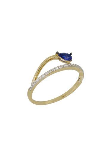 Anello Da Donna Goccia Blu Oro Giallo ELO0438OREF
