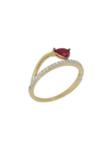 Anello Da Donna Goccia Rossa Oro Giallo ELO0439OREF