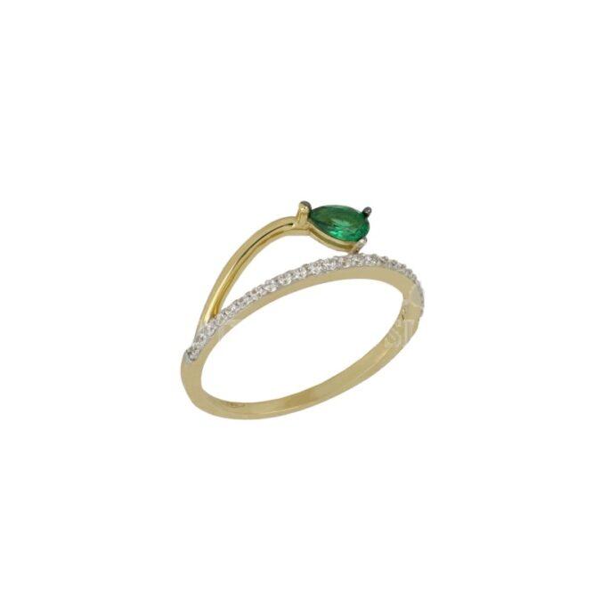 Anello Da Donna Goccia Verde Oro Giallo ELO0440OREF