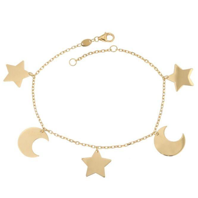 Bracciale Da Donna Stelle e Lune Oro ELO0338OREF