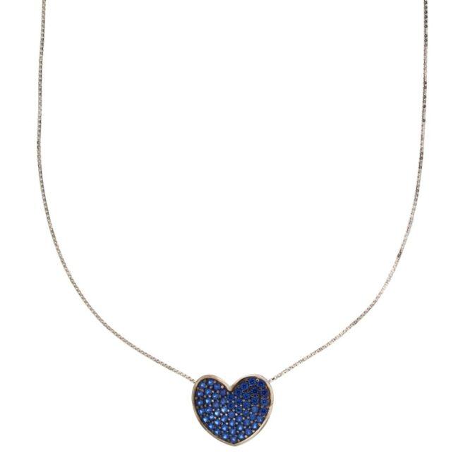 Collana Da Donna Cuore Blu Oro Bianco ELO0377OREF