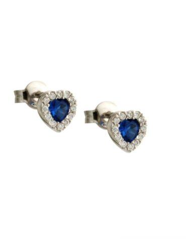 Orecchini Da Donna Cuore Blu Oro Bianco ELO0455