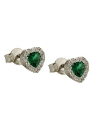 Orecchini Da Donna Cuore Verde Oro Bianco ELO0453
