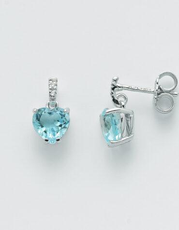 Orecchini Donna Miluna Topazio Cuore Diamanti ERD2407