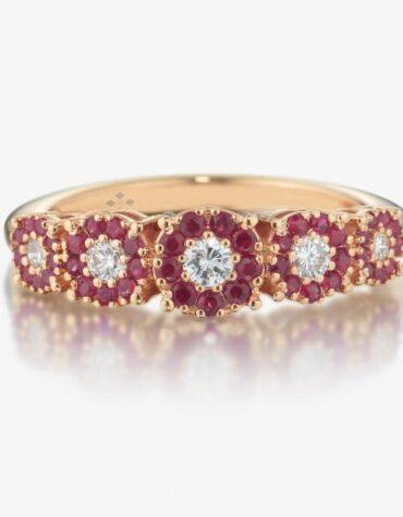 Anello Ubi Maior Diamonds Veretta Rubini Oro Rosa