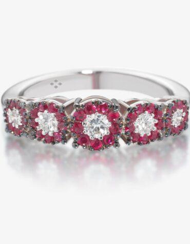 Anello Ubi Maior Diamonds Veretta Rubini e Diamanti