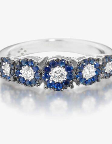 Anello Ubi Maior Diamonds Veretta Zaffiri Blu e Diamanti
