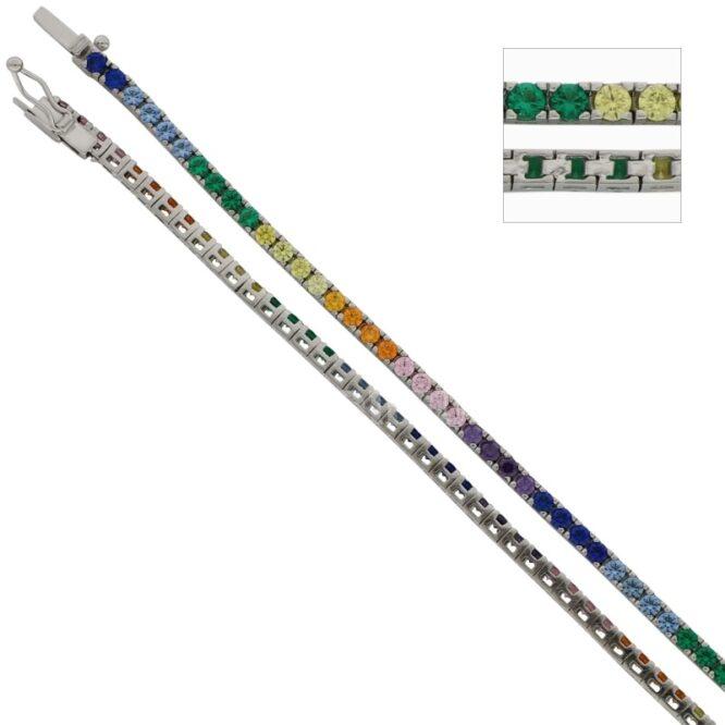 Bracciale Tennis Rainbow Oro Bianco ELO0456