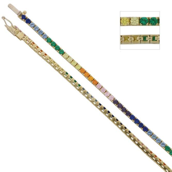 Bracciale Tennis Rainbow Oro Giallo ELO0457
