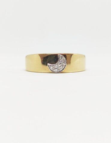 Anello Bruni Bossio M6633 Mezzaluna Diamanti Oro Giallo
