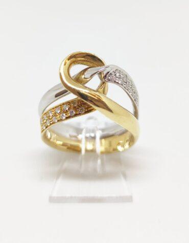 Anello Bruni Bossio M6849 Nodo Diamanti Oro Bicolore