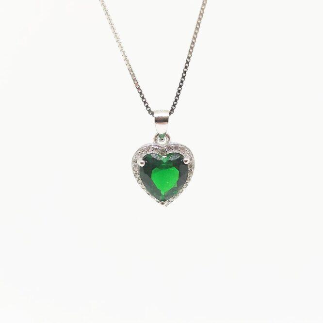 Collana Cuore Verde Smeraldo ELO01AG Argento