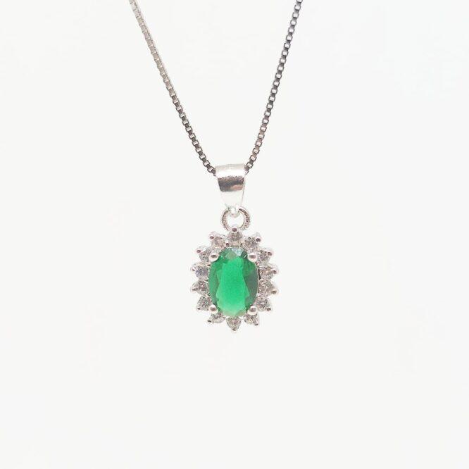 Collana Kate Verde Smeraldo ELO03AG Argento