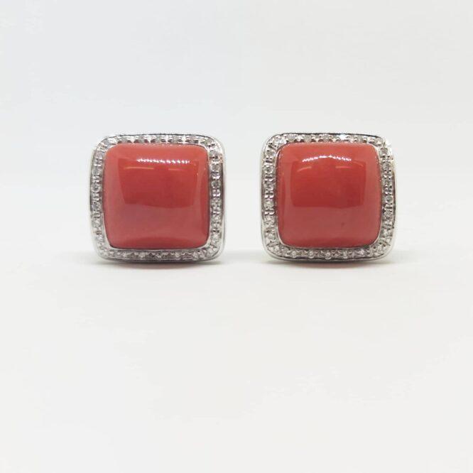 Orecchini Bruni Bossio M8351 Corallo Diamanti