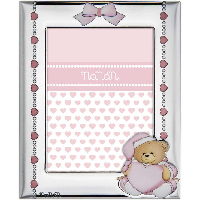 Cornice Da Bambina Nanan Argento Puccio Rosa NCO0006